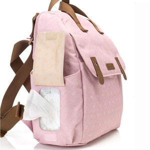 Babymel convertible changing bag , Robyn dusty pink origami heart, Side view showing wipes dispenser pocket, backpack unisex changing bag, rucksack bag baby bag