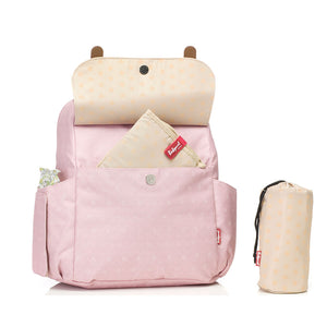 Babymel convertible changing bag , Robyn dusty pink origami heart, front view with changing mat in pocket and bottle holder, backpack unisex changing bag, rucksack bag baby bag