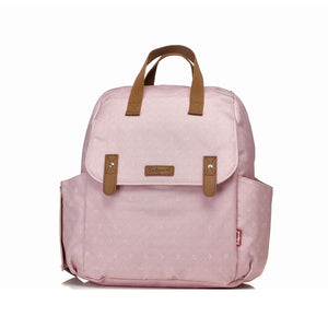 Babymel convertible changing bag , Robyn Dusty Pink Origami Heart, front view, backpack changing bag, rucksack bag baby bag