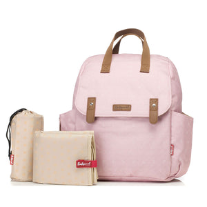 Babymel convertible changing bag , Robyn dusty pink origami heart, front view with changing mat and insulated bottle holder, backpack unisex changing bag, rucksack bag baby bag