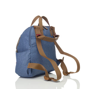 Babymel convertible changing bag , Robyn Mid blue, back view as backpack, backpack changing bag, rucksack bag baby bag