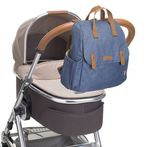 Babymel convertible changing bag , Robyn Mid blue, bag attached to pram, backpack changing bag, rucksack bag baby bag