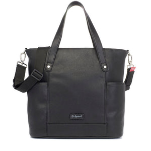 Babymel changing bag, Rosie vegan leather black tote, front view, faux leather PU handbag shoulder bag,