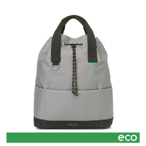 Babymel Changing bag backpack, top 'n' tail eco grey, recycled material,  drawstring rucksack, front view,