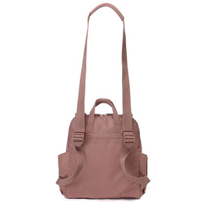 Babymel convertible changing bag, Robyn vegan leather dusty pink, back view as shoulder bag, faux leather PU backpack changing bag, rucksack