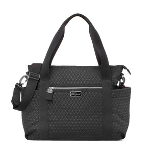 Babymel changing bag Cara ultra-lite black scuba emboss, front view, neoprene changing bag, handbag, shoulder bag.