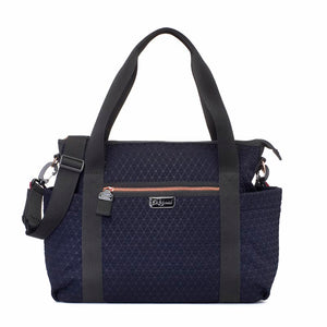 Babymel changing bag Cara ultra-lite navy scuba emboss, front view, neoprene changing bag, handbag, shoulder bag.