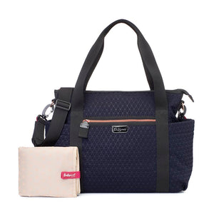 Babymel changing bag Cara ultra-lite navy scuba emboss, front view with changing mat + stroller clips, neoprene changing bag, handbag, shoulder bag.