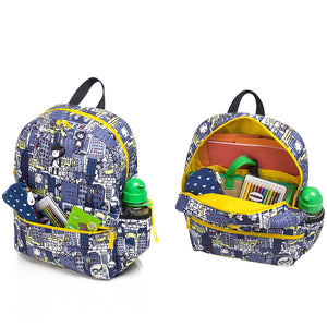 Zip and Zoe by Babymel Junior backpack city print,  front pocket and main compartment open and filled with books, pencil case, snacks and water bottle  | school bags for boys | boys backpack | school bags for girls | backpacks for girls | kids school bags | kids backpacks