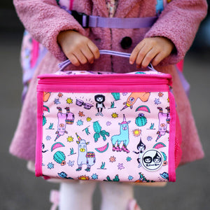 Zip and Zoe by Babymel zipped lunchie and ice pack llama, close up of girl holding lunch bag | lunch bag | girls lunch bag | ice pack