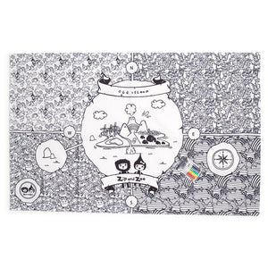 Zip and Zoe by Babymel colour & wash art canvas multi, full view | colour in table cloth | kids colouring
