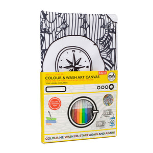 Zip and Zoe by Babymel colour & wash art canvas multi, in packaging, front view | colour in table cloth | kids colouring