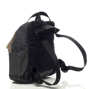 Babymel convertible changing bag , Robyn tweed, back view showing convertible strap, grey unisex backpack changing bag, durable rucksack