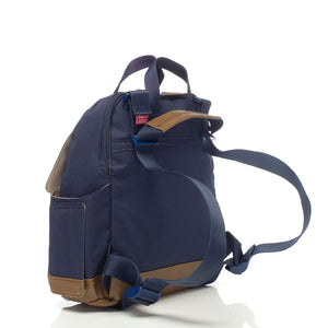 Babymel convertible changing bag , Robyn navy, back view showing convertible strap, unisex backpack changing bag, rucksack bag baby bag