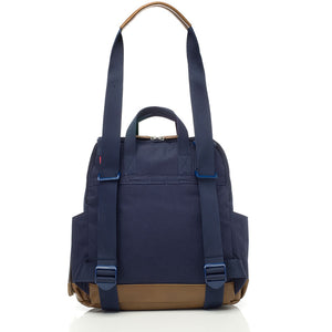 Babymel convertible changing bag , Robyn navy, back view as shoulder bag, unisex backpack changing bag, rucksack bag baby bag