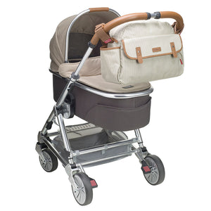 Babymel changing bag, Molly Grey Stripe, bag attached to buggy, laminated changing bag, shoulder bag baby bag