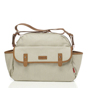 Babymel changing bag, Molly Grey Stripe, front view, laminated changing bag, shoulder bag baby bag