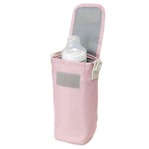 Babymel changing bag Cara dusty pink origami heart bottle holder, holder open with milk bottle shown inside