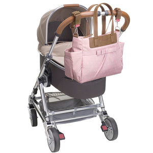 Babymel changing bag Cara dusty pink origami heart, bag attached to the pram, baby pink changing bag, handbag.