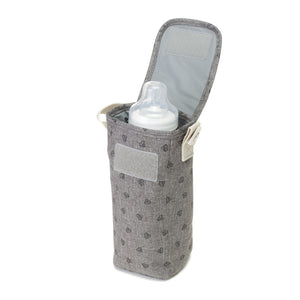 Babymel bottle holder, grey melange thermal bottle holder, open with milk bottle visible