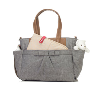 Babymel changing bag Cara grey, front view with changing mat in front pocket, grey melange changing bag, handbag, shoulder bag.