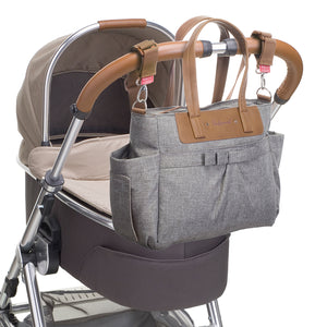 Babymel changing bag Cara grey, attached to pram with stroller clips, grey melange changing bag, handbag, shoulder bag.