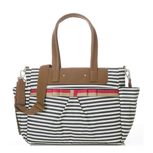 Babymel changing bag Cara stripe navy, front view, printed stripe changing bag, handbag, shoulder bag.