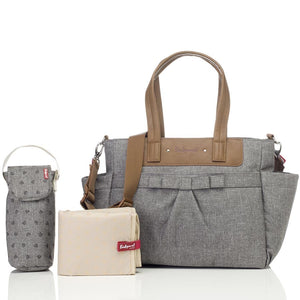 Babymel changing bag Cara grey, front view with changing mat, bottle holder and stroller clips, grey melange changing bag, handbag, shoulder bag.
