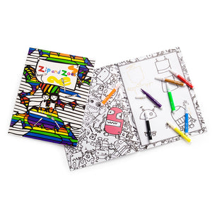Zip and Zoe by Babymel colouring book, with washable felt tip pens | kids colouring pages