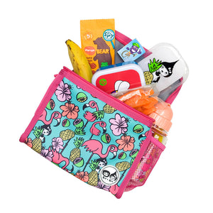 Zip and Zoe by Babymel zipped lunchie and ice pack flamingo, laying down with snacks spilling out | lunch bag | girls lunch bag | ice pack