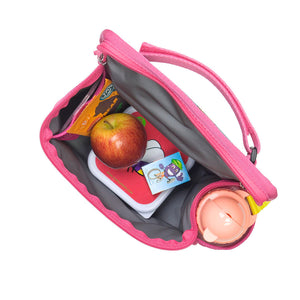 Zip and Zoe by Babymel zipped lunchie and ice pack flamingo, internal view filled with snacks and water bottle in side pocket | lunch bag | girls lunch bag | ice pack