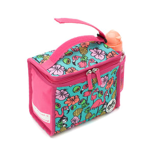 Zip and Zoe by Babymel zipped lunchie and ice pack flamingo, side view with grab handle velcro open | lunch bag | girls lunch bag | ice pack