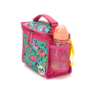 Zip and Zoe by Babymel zipped lunchie and ice pack flamingo, side view with water bottle  | lunch bag | girls lunch bag | ice pack