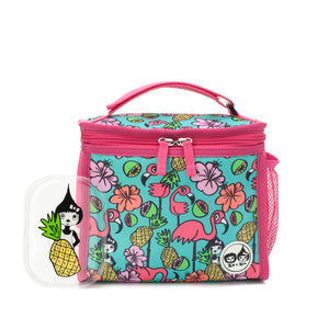 Zip and Zoe by Babymel zipped lunchie and ice pack flamingo, front view with Zoe pineapple ice pack | lunch bag | girls lunch bag