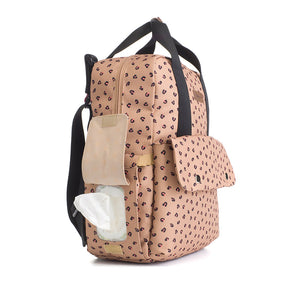 Babymel eco changing bag convertible backpack, Georgi Caramel Leopard, side view showing baby wipes pocket, recycled material, animal print changing bag
