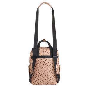 Babymel eco changing bag convertible backpack, Georgi Caramel Leopard, back view showing straps as shoulder bag, recycled material, animal print changing bag