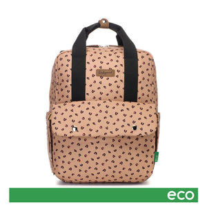 Babymel eco changing bag convertible backpack, Georgi Caramel Leopard, front view, recycled material, animal print changing bag