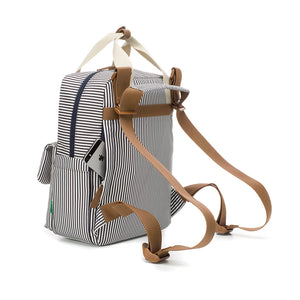 Babymel eco changing bag convertible backpack, Georgi navy stripe, back view showing backpack straps and concealed phone pocket, recycled material, striped print changing bag