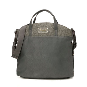 Babymel  changing bag vegan leather, Grace grey PU, front view, faux leather, handbag baby bag