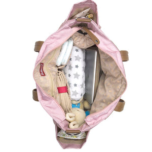 Babymel changing bag Cara dusty pink origami heart, internal view filled with baby items, baby pink changing bag, handbag.