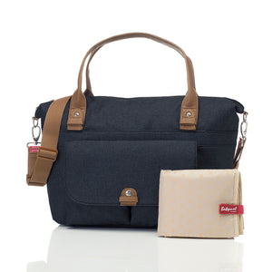Babymel changing bag, Jade navy, front view + changing mat, navy melange, handbag baby bag