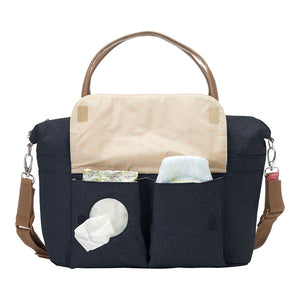 Babymel changing bag, Jade navy, front view showing baby wipes and nappy pocket, navy melange, handbag baby bag