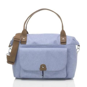 Babymel changing bag, Jade Bluebell front view, blue melange, handbag baby bag