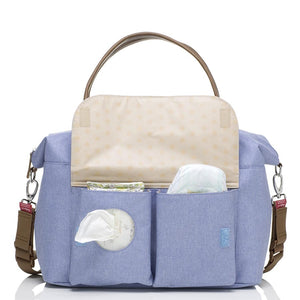 Babymel changing bag, Jade Bluebell, front view showing wipes and nappy pocket, blue melange, handbag baby bag
