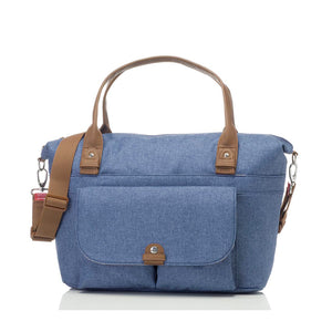 Babymel changing bag, Jade mid blue, front view, blue melange, handbag baby bag