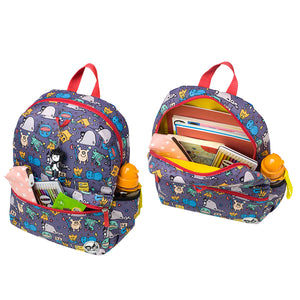 Zip and Zoe by Babymel Junior backpack monster, front pocket and main compartment open and filled with books, pencil case, snacks and water bottle  | school bags for boys | boys backpack | school bags for girls | backpacks for girls | kids school bags | kids backpacks