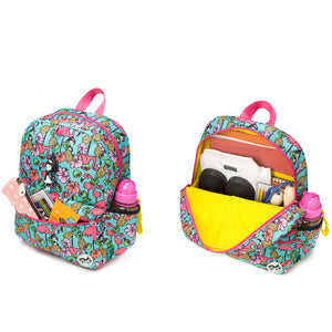 Zip and Zoe by Babymel Junior backpack  Flamingo, front pocket and main compartment open and filled with books, pencil case, snacks and water bottle | school bags for girls | backpacks for girls | kids school bags | kids backpacks
