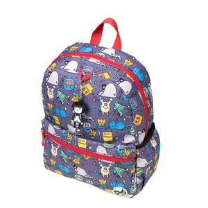 Zip and Zoe by Babymel Junior backpack monster, front side view | school bags for boys | boys backpack | school bags for girls | backpacks for girls | kids school bags | kids backpacks