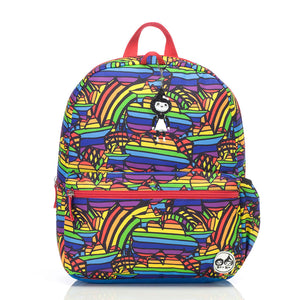 Zip and Zoe by Babymel Junior backpack rainbow multi, front view | school bags for boys | boys backpack | school bags for girls | backpacks for girls | kids school bags | kids backpacks