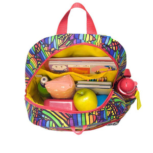 Zip and Zoe by Babymel Junior backpack rainbow multi, open view, filled with books, pencil cases and snacks | school bags for boys | boys backpack | school bags for girls | backpacks for girls | kids school bags | kids backpacks